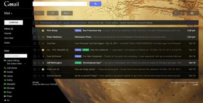 Gmail z layoutem nawiązującym do Google+