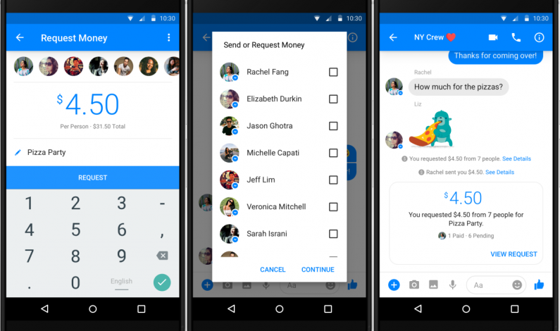 Facebook zaprezentował grupowe płatności w Messengerze