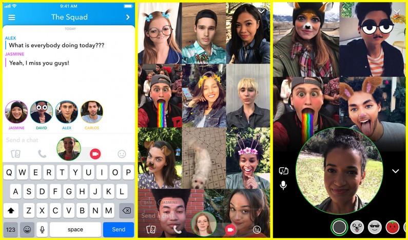 Snapchat z grupowym czatem wideo i wzmiankami