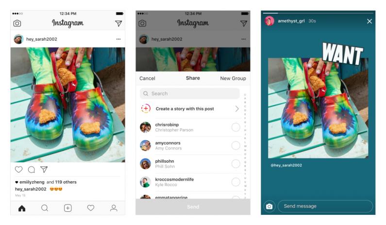 Instagram wprowadza możliwość repostowania treści z innych profili w Stories