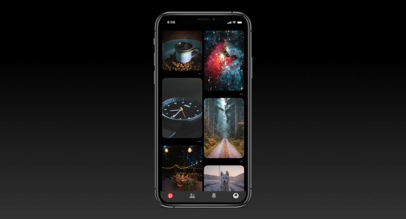 Pinterest z trybem ciemnym na iOS i Android