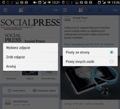 Udostępnianie zdjęć i filtrowanie przeglądanych postów w aplikacji Facebook Pages Manager.