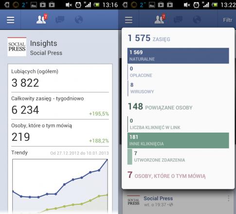 Statystyki strony i wpisów w aplikacji Facebook Pages Manager.