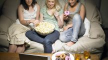 Three Young Women Watching Movie - telewizja tv