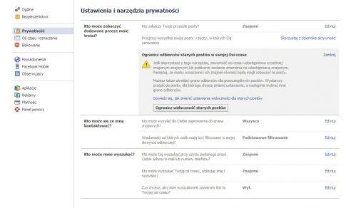 Ustawienia prywatności na Facebooku / fot. Facebook.com