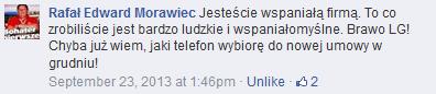 """Ilustracja 7: RTM sprzedaje. Jeden z wielu pozytywnych komentarzy fanów dot. akcji """"Telefon dla Emilki"""". Źródło: Facebook."""