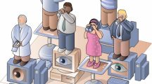 People standing on computers and looking out with telescopes and binoculars - cartoon