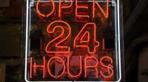 Neon sign open 24 hours - real time