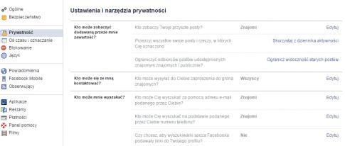 Ustawienia i narzędzia prywatności / fot. Facebook