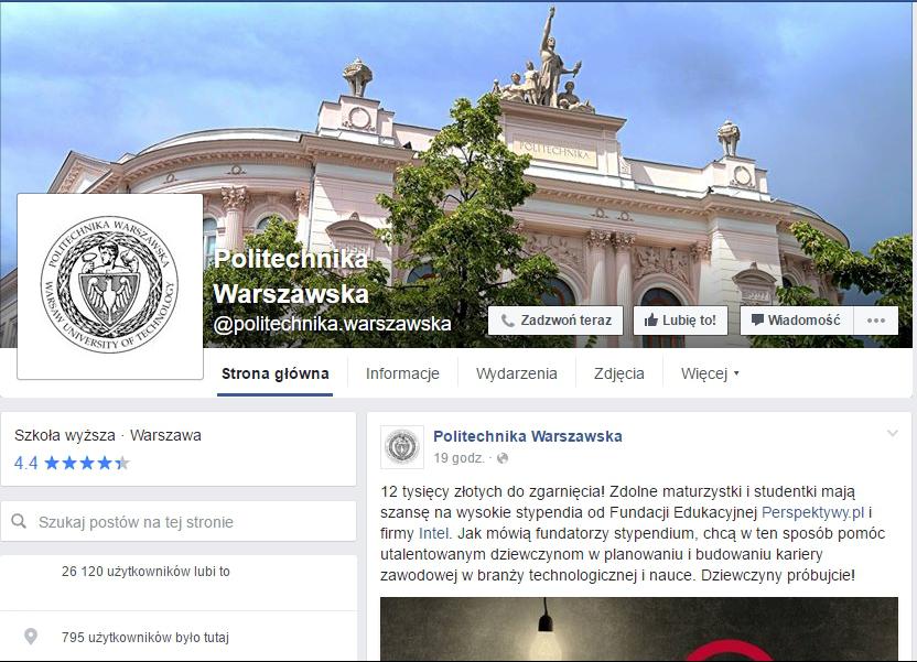 www.facebook.com/politechnika.warszawska
