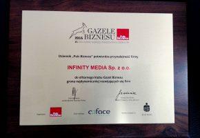 Infinity Media Gazelą Biznesu