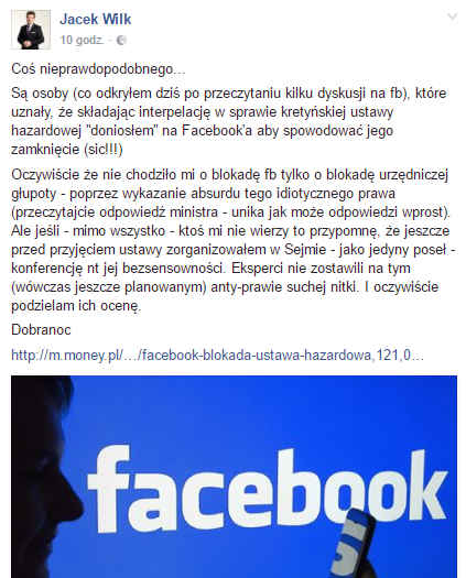 fot. facebook.com/JacekWilkPL