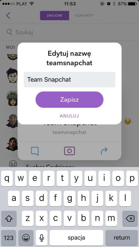 fot. screen z aplikacji Snapchat