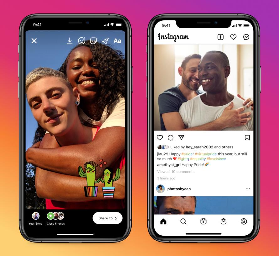 Instagram Miesiąc Dumy widok smartfona