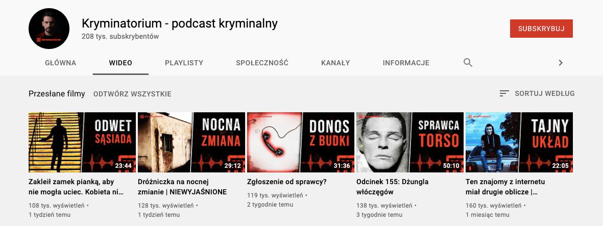 Kryminatorium kanał YouTube