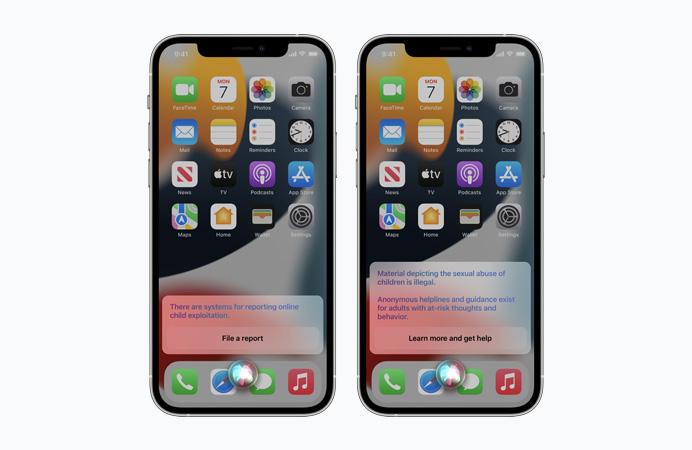 Według Apple, Siri zapewni zasoby i pomoc w zakresie wyszukiwania związanego z CSAM