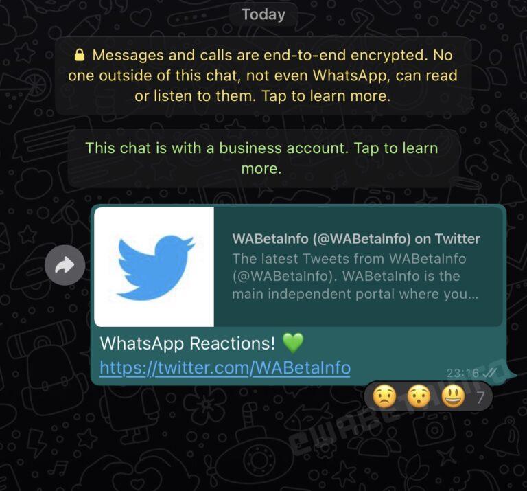 reakcje na whatsapp