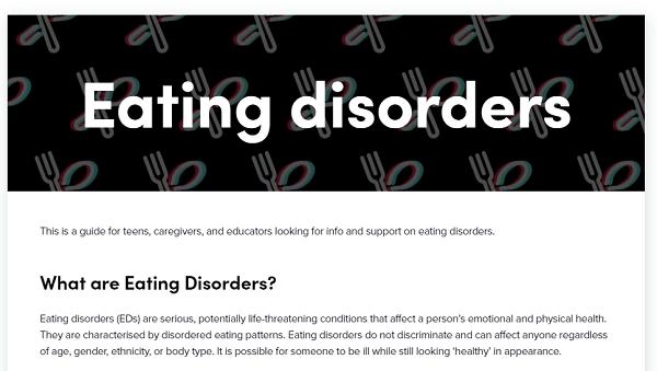 przewodnik TikToka na temat zaburzeń odżywiania